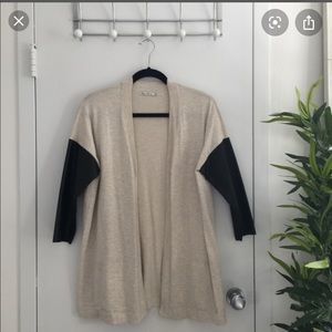 Zara faux leather sleeve cardigan